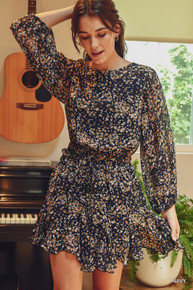 Scattered Floral Dress Navy