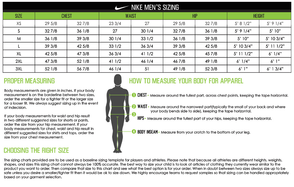 Custom Nike Shirts Sizing Chart