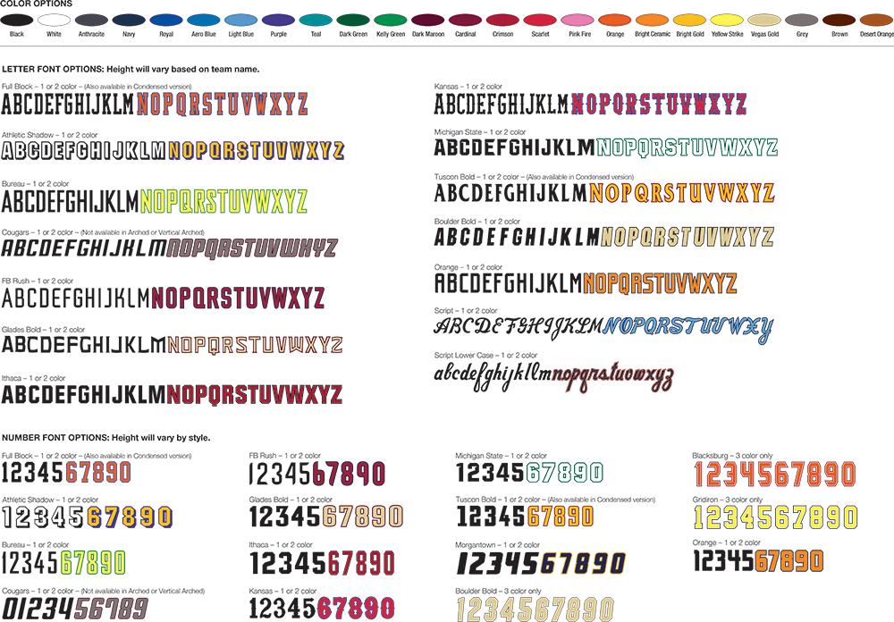 Custom Nike Sublimation Color Chart