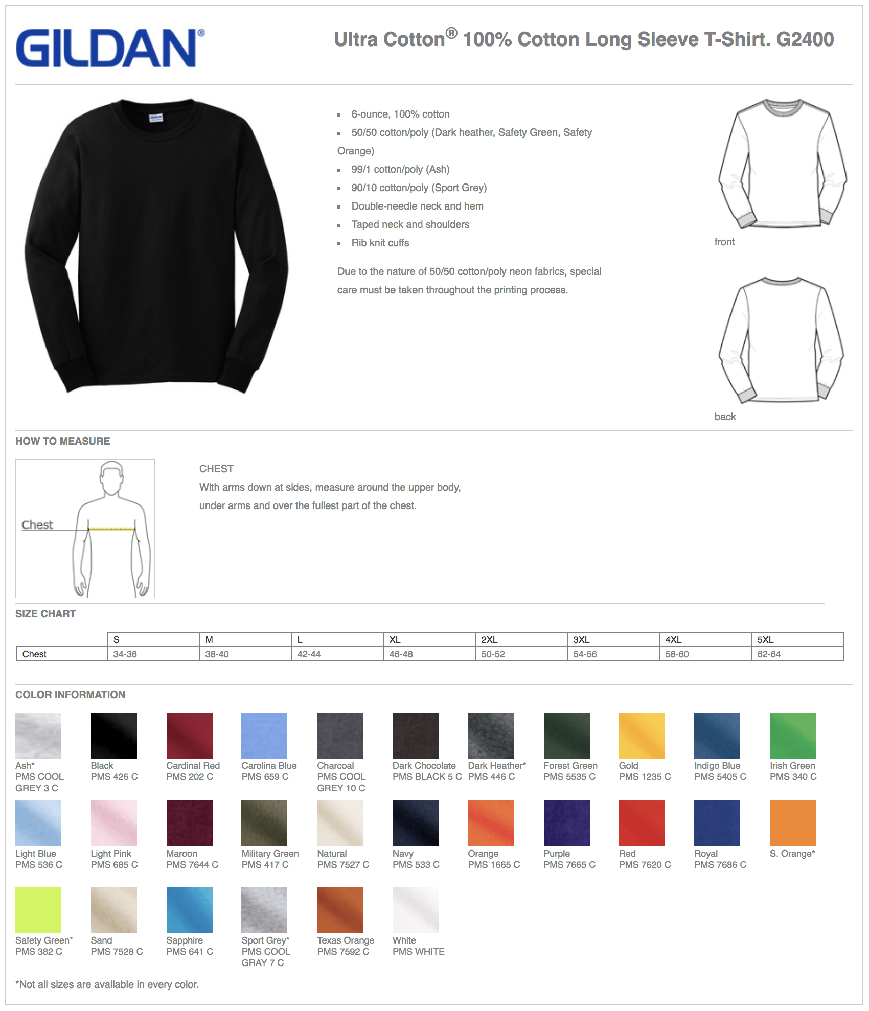 Gildan 2400 Custom Long Sleeve T-Shirts