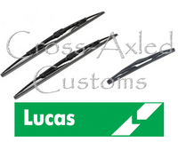 Land Rover Discovery II LHD Front & Rear Wiper Blade SET. Lucas #LLWCB21B x 2, LWCR14B x 1