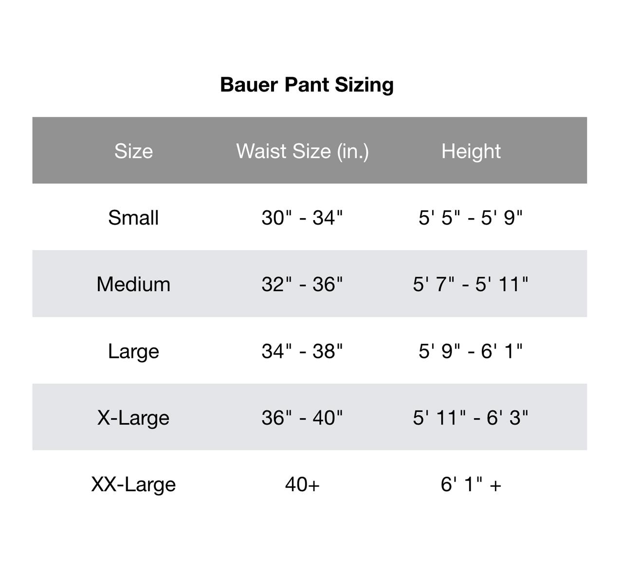 Bauer Pants Chart