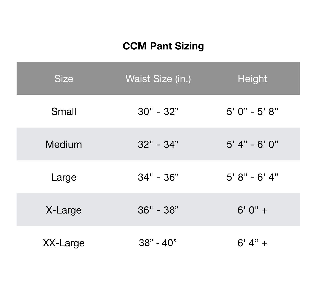CCM Pants Chart