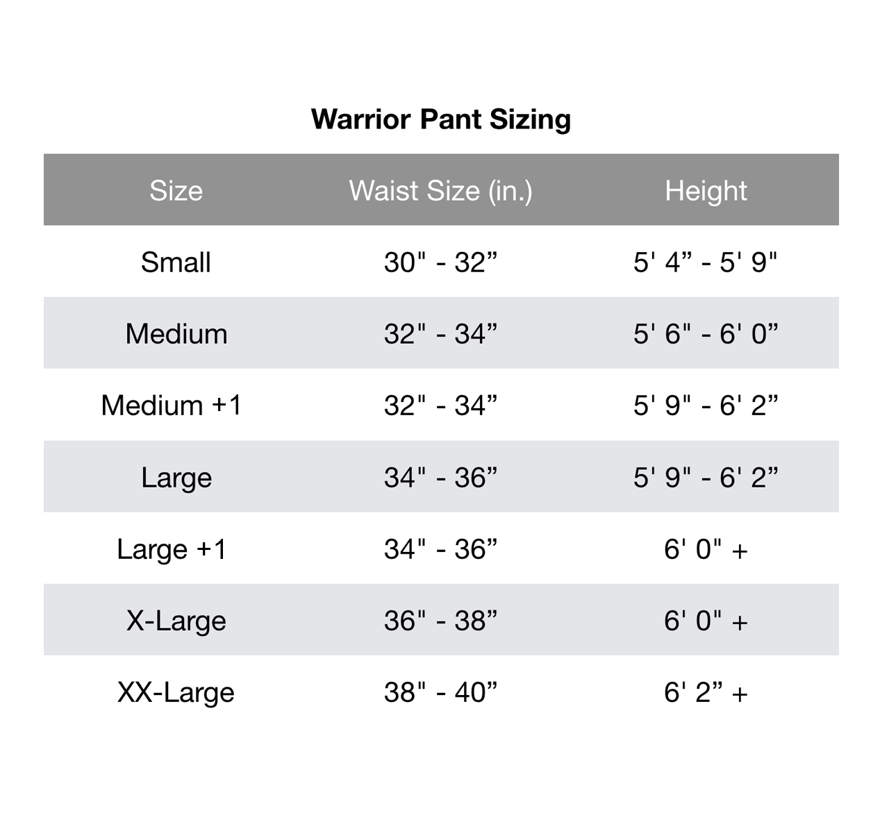Warrior Pants Chart