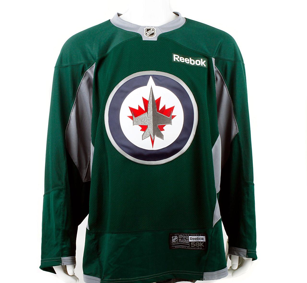 sports shoes e0ba3 3fa75 Practice Jersey - Winnipeg Jets - Forest Green Reebok Size 58+