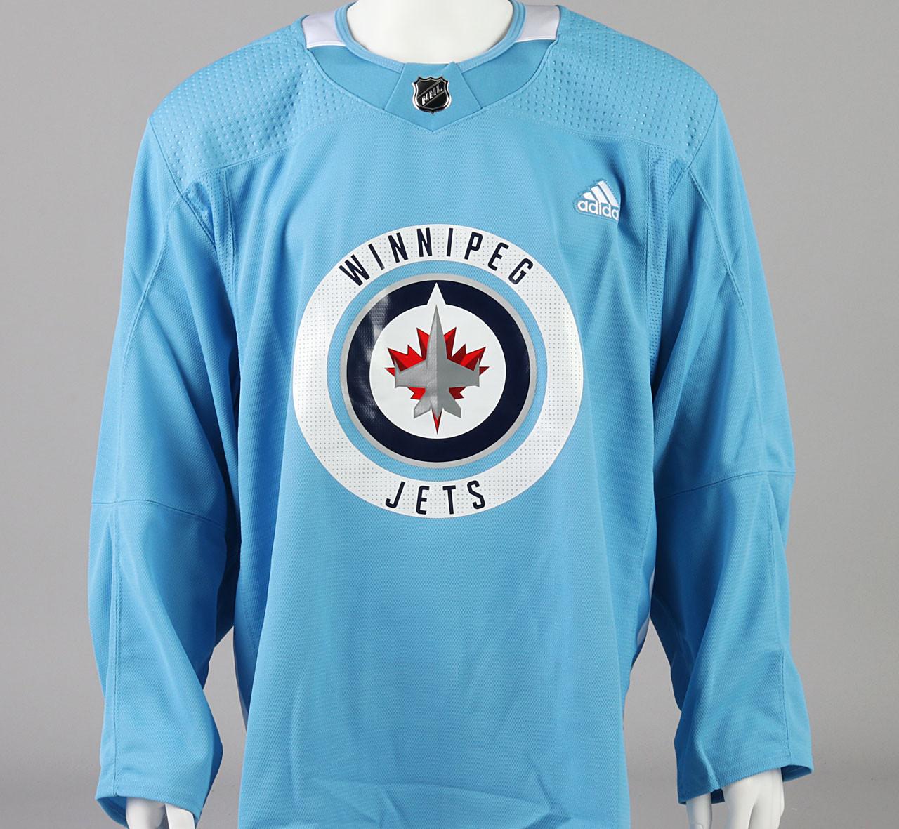 best sneakers 414dd 35049 Practice Jersey - Winnipeg Jets - Baby Blue Adidas Size 56 #2