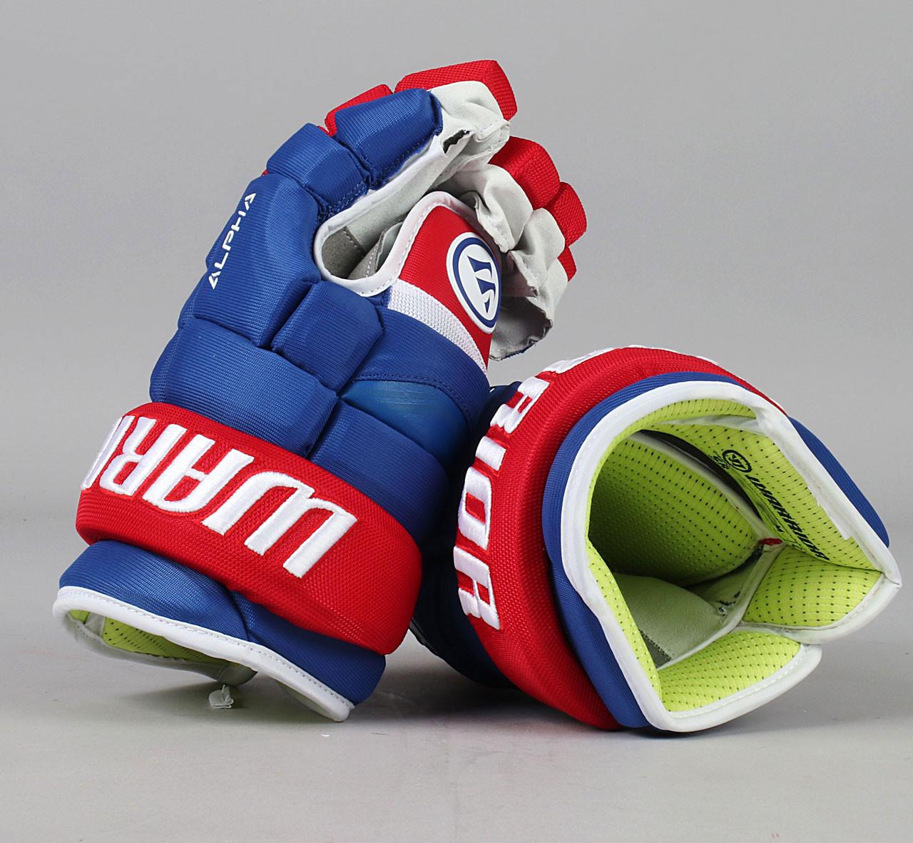 13 Warrior Alpha Qx Gloves Team Stock Montreal Canadiens 4 Pro Stock Hockey