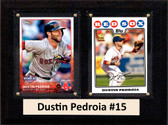 """MLB6""""X8""""Dustin Pedroia Boston Red Sox Two Card Plaque"""