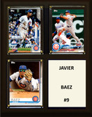 "MLB8""x10""Javier Baez Chicago Cubs Three Card Plaque"