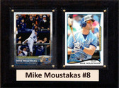 """MLB6""""X8""""Mike Moustakas Kansas City Royals Two Card Plaque"""