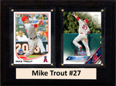 "MLB6""X8""Mike Trout Los Angeles Angels Two Card Plaque"