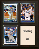"MLB8""x10""Yasiel Puig Los Angeles Dodgers Three Card Plaque"