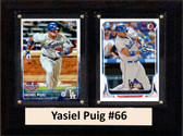 "MLB6""X8""Yasiel Puig Los Angeles Dodgers Two Card Plaque"