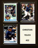 "MLB8""x10""Christian Yelich Milwaukee Brewers Three Card Plaque"