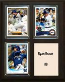 "MLB8""x10""Ryan Braun Milwaukee Brewers Three Card Plaque"