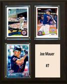 """MLB8""""x10""""Joe Mauer Minnesota Twins Three Card Plaque"""