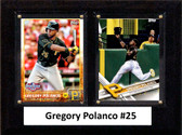 """MLB6""""x8""""Gregory Polanco Pittsburgh Pirates Two Card Plaque"""
