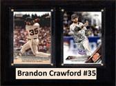 "MLB6""X8""Brandon Crawford San Francisco Giants Two Card Plaque"