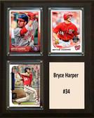 "MLB8""x10""Bryce Harper Washington Nationals Three Card Plaque"