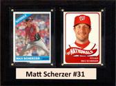 """MLB6""""X8""""Matt Scherzer Washington Nationals Two Card Plaque"""