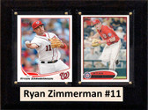 "MLB6""X8""Ryan Zimmerman Washington Nationals Two Card Plaque"
