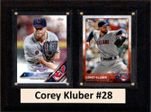 """MLB6""""X8""""Corey Kluber Cleveland Indians Two Card Plaque"""