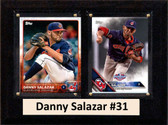 """MLB6""""X8""""Danny Salazar Cleveland Indians Two Card Plaque"""