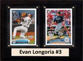 "MLB6""X8""Evan Longoria Tampa Bay Rays Two Card Plaque"