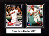 """MLB6""""x8""""Francisco Lindor Cleveland Indians Two Card Plaque"""