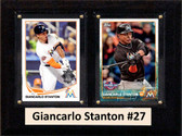 "MLB6""X8""Giancarlo Stanton Miami Marlins Two Card Plaque"