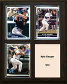 """MLB8""""x10""""Kyle Seager Seattle Mariners Three Card Plaque"""
