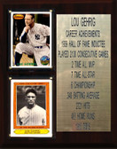 """MLB 8""""X10"""" Lou Gehrig New York Yankees Career Stat Plaque"""