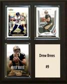 "NFL 8""x10"" Drew Brees New Orleans Saints Three Card Plaque"