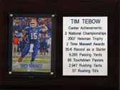 "NCAA 6""X8"" Tim Tebow Florida Gators Career Stat Plaque"