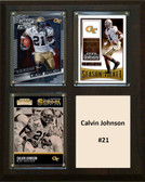 "NCAA 8""X`10"" Calvin Johnson Georgia Tech Yellow Jackets Three Card Plaque"