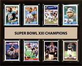 "NFL 12""x15"" New York Giants Super Bowl 21 - 8-Card Plaque"