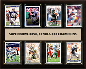 "NFL 12""x15"" Dallas Cowboys Super Bowl 27,28 and 30 - 8-Card Plaque"