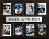 """MLB 12""""x15"""" Milwaukee Brewers All-Time Greats Plaque"""