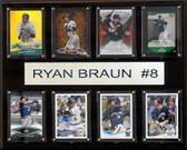 "MLB 12""x15"" Ryan Braun Milwaukee Brewers 8-Card Plaque"