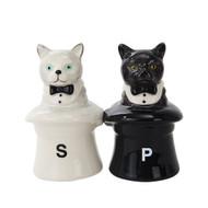 Salt & Pepper Shakers Set Cat in Hats Ceramic 10392