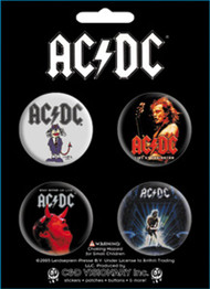 Button AC/DC Band Logo Set of 4 Pin Pack