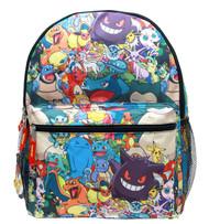 """Backpack Pokemon All Team Monsters All-Over Print 16"""" School Bag 858343"""