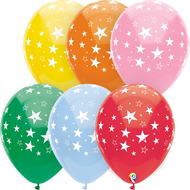 "Party Supplies Pioneer Latex Balloon Stars All Over Asst 8 ct. 12"" 57379"
