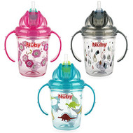 Baby Feeding Nuby 2-Handle No-Spill Thin Flip-it 360 Straw Cup 8oz Vary Color