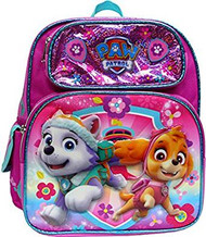 "Small Backpack Paw Patrol Pink Everest/Skype Shiny 12"" 134938"