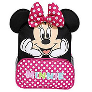 "Small Backpack Disney Minnie Mouse Happy Face w/Red Pocket 12"" Bag 002695"