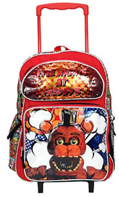 "Large Rolling Backpack  Five Nights at Freddy's Freddy Fazbear 16"" 168173"