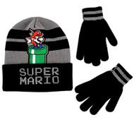 Beanie Cap Nintendo Super Mario Black & Grey w/Glove Set 358690
