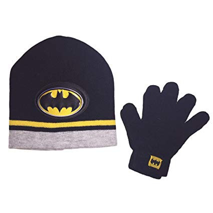 9860cf9c213 Beanie Cap DC Comics Batman Black 3D Logo Hat Set w Glove - Hobby ...