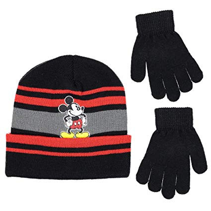 678867917f9 Beanie Cap Disney Mickey Mouse Black Gray Red Hat Set w Glove.  http   store-svx5q.mybigcommerce.com product images web